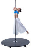 Graceful girl dancing on pylon. Studio photo Royalty Free Stock Photography