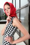 Graceful girl. french style. Graceful girl in red kerchief and plaid gown. french style Royalty Free Stock Image