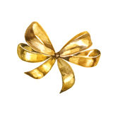 Graceful golden bow isolated on white background. Watercolor Royalty Free Stock Photography