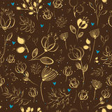 Graceful Golden Flowers. Vector Seamless Pattern Stock Images