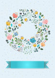 Graceful Greeting Card. Ring of watercolor flowers Stock Photos