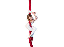 Graceful gymnast performing aerial exercises Royalty Free Stock Photo