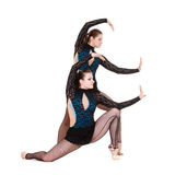 Graceful gymnasts dancing Royalty Free Stock Image
