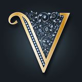 Letter logo V. Vector. ABC. Golden alphabet on a dark background. Victory. royalty free illustration