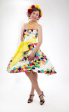Graceful joyful young girl in colorful dress Royalty Free Stock Image