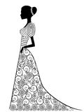 Graceful lady in long gown. Beautiful graceful lady in long Victorian ornamental gown isolated on the white background, hand drown vector illustration Royalty Free Stock Image