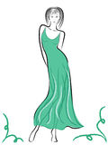 Graceful lady in turquoise gown Royalty Free Stock Photo