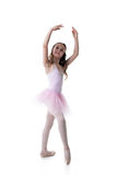 Graceful little ballet dancer isolated on white Stock Photos
