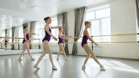 Graceful little ballet dancers in beautiful leotards are exercising practising movements in light studio. Pretty girls