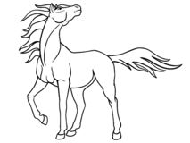 Graceful mare with a long mane. Picture with a proud horse for coloring. Fantastic stallion. Linear picture. royalty free illustration
