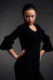 Graceful model in black dress Royalty Free Stock Photo
