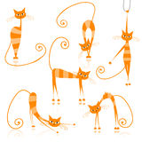 Graceful orange striped cats for your design Royalty Free Stock Photos