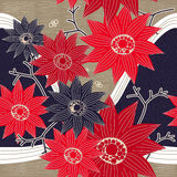 Graceful red and blue flowers Stock Photography