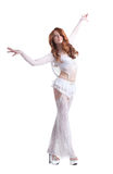 Graceful red-haired girl dressed as angel Royalty Free Stock Images