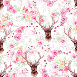 Graceful reindeer and flowers seamless vector pattern Stock Image