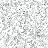 Graceful seamless floral pattern coloring page. In exquisite style vector illustration