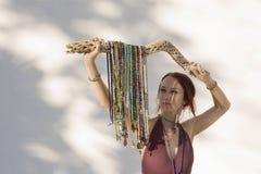 Shakti Mala Yoga Woman White Background stock photos
