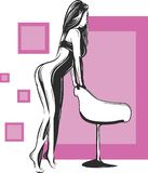 Graceful and slim woman with expressive eyes and nice hair sitting on chair, hand drawing illustration vector illustration