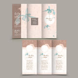 Graceful tri-fold brochure design. With elegant floral elements Royalty Free Stock Photography