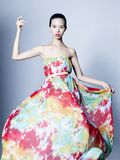 Graceful woman in color dress Stock Images