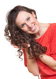 Graceful woman with curly hair Stock Image