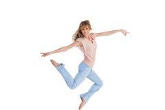 Graceful woman jumping Stock Photos