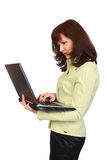 The graceful woman with laptop Royalty Free Stock Photography