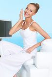 Graceful woman in white outfit Stock Photos