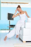 Graceful woman in white outfit Royalty Free Stock Photo