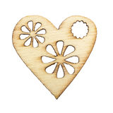 Graceful wooden heart, with a burned pattern. Isolated on white Royalty Free Stock Image