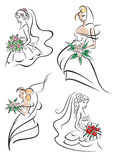 Graceful young bride icons set royalty free stock photos