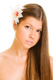 Graceful young woman with flower Royalty Free Stock Images