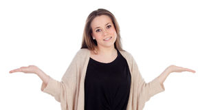 Graceful young woman shrugging Stock Photo