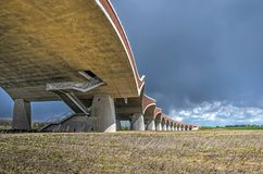 Gracefully curving arches of bridge De Oversteek royalty free stock photo