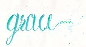 Graci kaligrafii projekt wodnego koloru ręki literowaniem w błękitnym zielonym kolorze na białym kolorze papier Zdjęcie Royalty Free