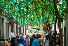 Gracia区装饰的街道 玉米题材 免版税库存照片