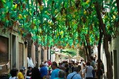Gracia区装饰的街道 花卉题材 免版税库存照片