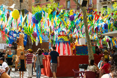 Gracia Festa Major in Barcelona, Katalonien Stockbilder