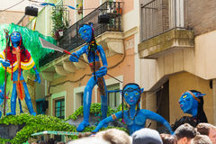 Gracia Festival Decorations in Barcelona. BARCELONA, SPAIN - AUGUST 16, 2015: Gracia Festival Decorations in Barcelona. Each street is decorated with hand stock photography