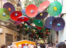 Gracia Street Festival in Barcelona, Catalonia Stock Photography