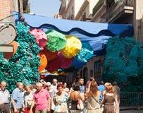 Gracia Street Festival Calles adornadas del distrito de Gracia Fotografía de archivo