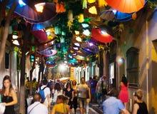 Gracia Street Festival dans la nuit Photos libres de droits