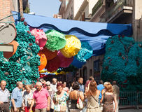 Gracia Street Festival. Decorated streets of Gracia district Stock Photography