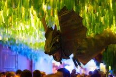 Gracia Street Festival in der Nacht Barcelona Stockbild