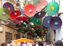 Gracia Street Festival en Barcelona, Cataluña Fotografía de archivo
