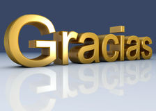 Gracias. 3d image, text by letters of gold Stock Photos