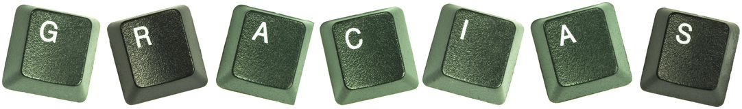 Gracias. Photo of keyboard buttons spelling out the wod, Gracias Stock Photo