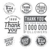 Gracias badges, las etiquetas y las etiquetas engomadas para los seguidores ilustración del vector