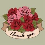 Gracias bandera, ramo del vintage de las flores de las rosas con una cinta curvada para su texto Tarjeta de felicitación, invitac Fotografía de archivo