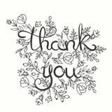 Gracias cardar Diseño de letras dibujado mano Tarjeta de felicitación con las flores Línea estilo del arte Ilustración del vector Imagen de archivo libre de regalías